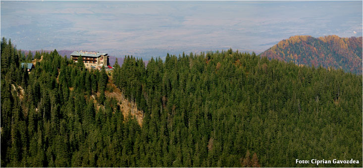 Panoramic view with Negoiu Chalet from Fagaras Mountains